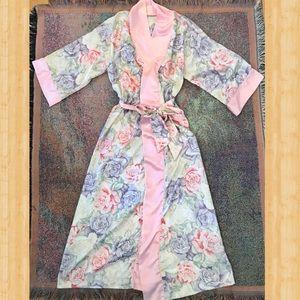 Vintage boho Rose Floral Silk Satin Robe Kimono